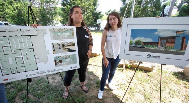 The Catawba Riverkeeper employees Morgan Long and Morgan Oestereich will show plans and an artistic performance during the laying of the foundation stone on Tuesday afternoon, June 15, 2021.  The Catawba Riverkeeper Foundation plans to relocate its offices to McAdenville.